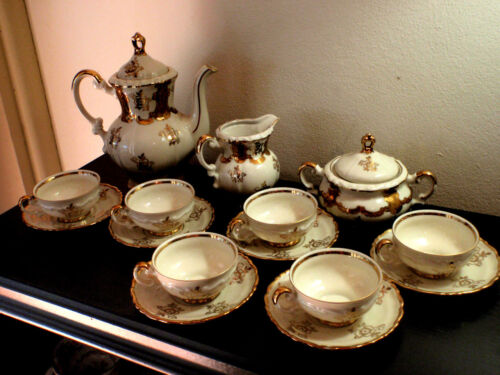White and Gold Mitterteich Bavaria~Full Set~6 cups & saucers, teapot, etc 038