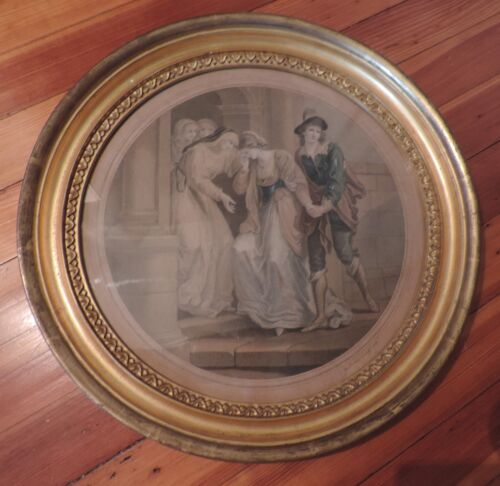 Antique Round Gilt Wood Picture Frame with Glass & Print Empire Regency 19th c.
