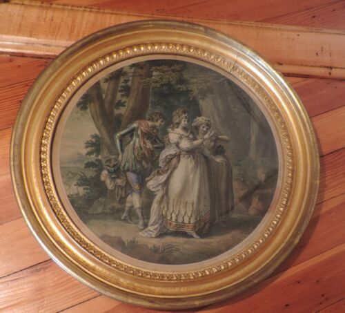 Antique Round Gilt Wood Picture Frame Glass Empire Regency 19th c. for Mirror