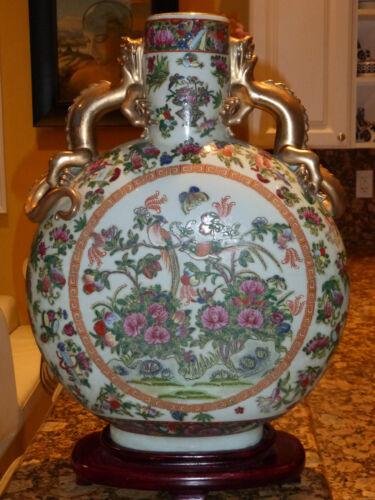 CHINESE  FAMILLE ROSE  MOONFLASK VASE WITH DRAGON HANDLES - HUGE 20""