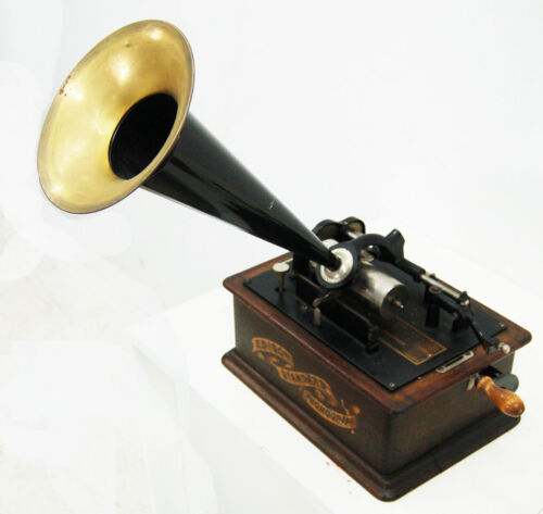 Edison Standard Phonograph Player & 3 Edison Gold Moulded Record Cylinders #7762