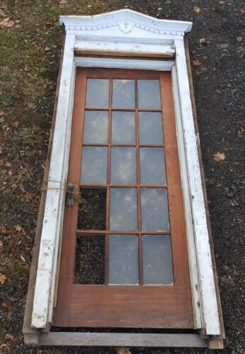Antique Entry Way French Door With Surround Gingerbread Pediment Old 3903-14