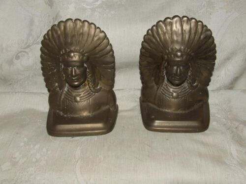 Jennings Antique Solid Cast Bronze Bookends Indian Chief Mission Arts & Crafts