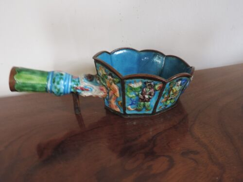 Antique Chinese Cloisonne  Iron Bowl Immortals Turquoise Famille Vert Bronze