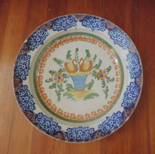 Big Antique 19th c. French Tin Glaze Delft Charger Platter Pottery Flower Basket