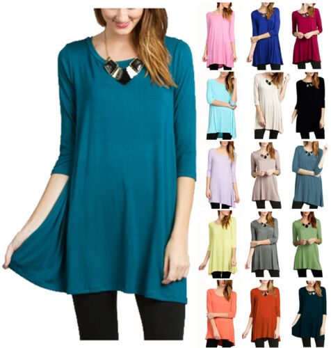 Women's Long Tunic Top 3/4 Sleeve Dolman Boat Neck USA Dress S M L 1X 2X 3X PLUS