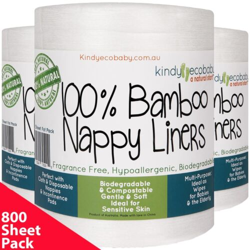 880 BAMBOO Disposable Nappy Liners/Inserts for Cloth Nappy Biodegradable Natural