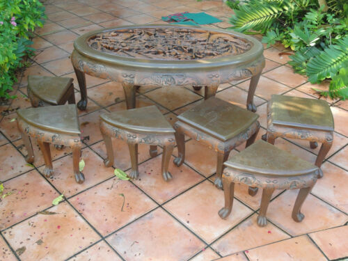 VINTAGE 50s MAJESTIC Co CHINESE OPENWORK CARVED ROSEWOOD TABLE & STOOL  清宫家具的紫檀表