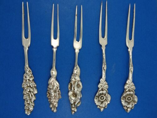 SET of 5 GORGEOUS ART NOUVEAU REPOUSSE HORS D'OEUVRES STERLING FORK