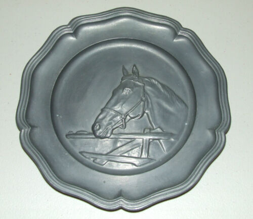 Antique Pewter Decorative Horse Plate with Angel Trademark, Made in Holland