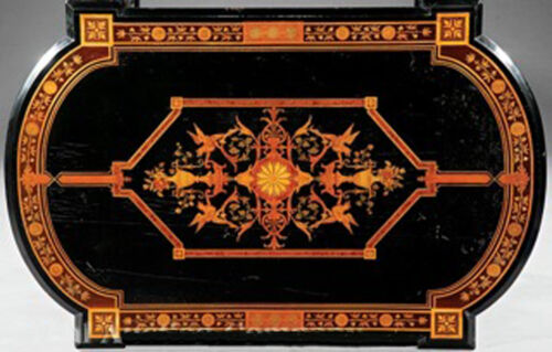 American Victorian Marquetry Center Table, c 1865 #7779