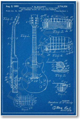 Les Paul Guitar Patent - NEW Vintage Invention Patent Poster