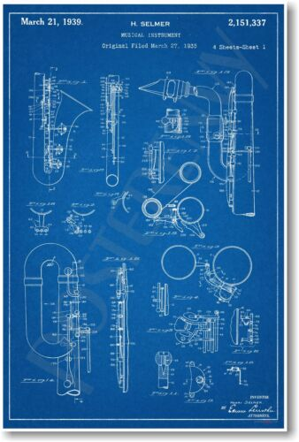 Selmer Saxophone Patent -  NEW Vintage Invention Patent Poster