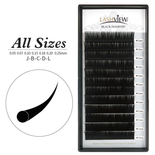 LashView All Size Individual Eyelash Extensions Semipermanent Lash Building <br/> .07 .10 .15 .20 .25mm,B C D curl,8-15 available!!!