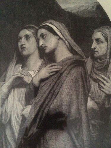 """ANTIQUE, VINTAGE: """"MARIES AT THE SEPULCHRE"""" HOLY, SACRED, CHRISTIAN ART 1870's"""
