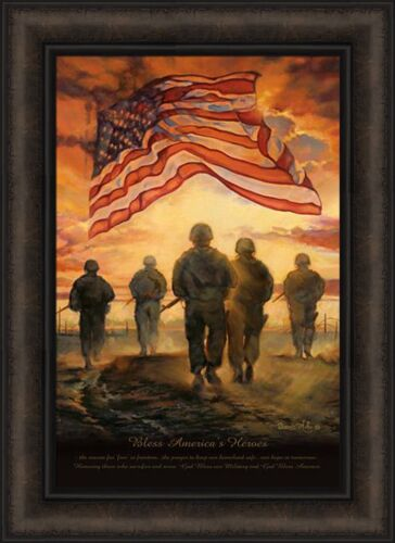 BLESS AMERICA'S HEROES by Bonnie Mohr 16x22 FRAMED ART Soldier Military Veteran