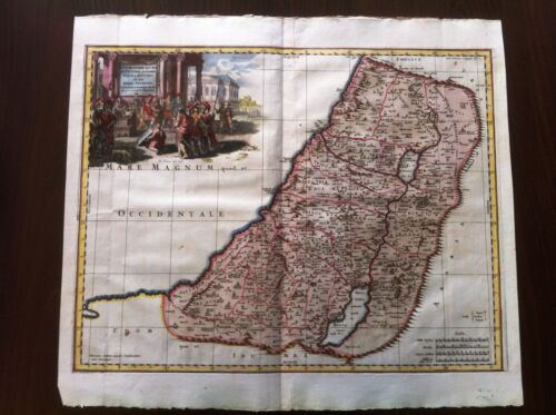Antique HOLY LAND  Map , Sanson 1704 , Hand Color , Israel , Palestine