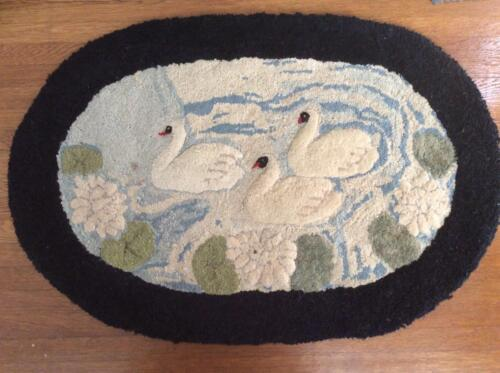 "Vintage American Rug, Three Swans on Water, Raised Design, 21.5""X32"""