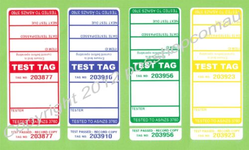 1000 (250 of each colour)  Premium Electrical Adhesive Test Tag Labels