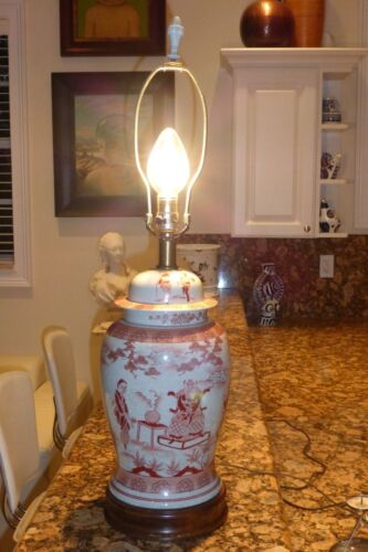 """Mid Century Oriental Pottery Ginger Table Lamp - Impressive! 30 1/4"""" Tall"""