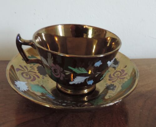 Antique 19th century English Copper Luster Tea Cup and Saucer Staffordshire