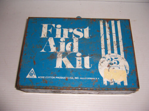 Vintage blue ACME INDUSTRIAL FIRST AID KIT #25 metal wall box w/ some contents