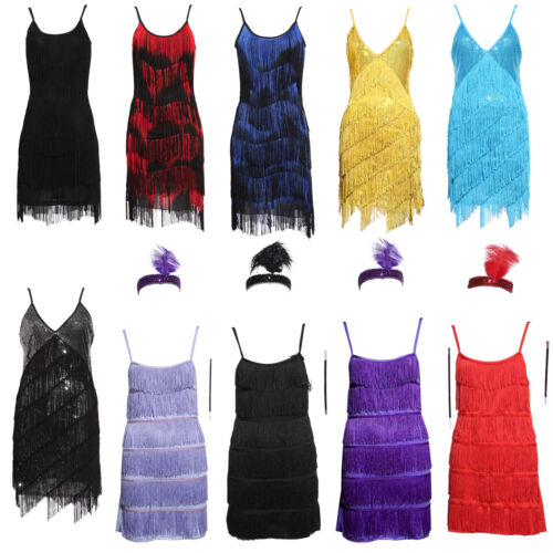 20s Vintage Charleston Gatsby Flapper Dancing Dress Downton Abbey Fringed Outfit
