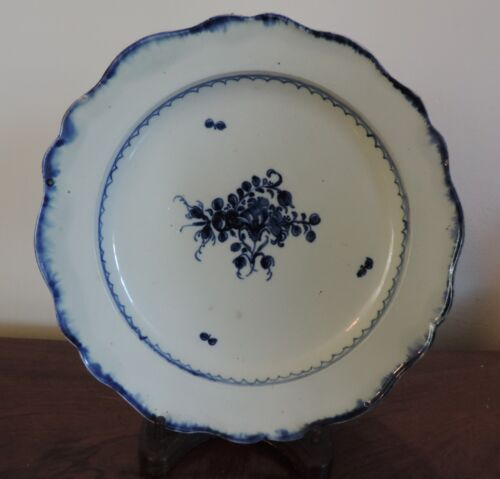 Large Antique Pearlware Plate Leeds Blue Feather Edge 18th century Staffordshire