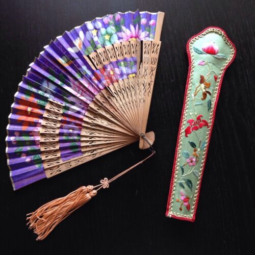 Fine Antique Qing Chinese Silk Embroidered Fan Case w Fan Painted Flowers WOW NR