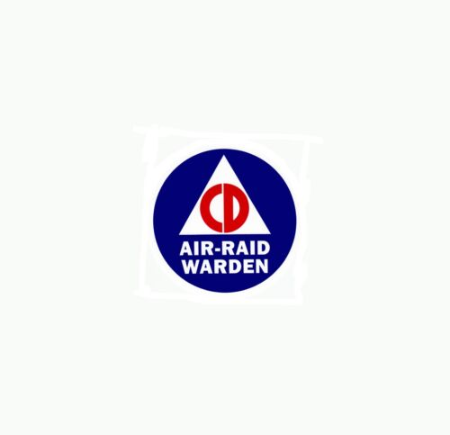 2 CIVIL DEFENSE AIR RAID WARDEN STICKER DECAL SIZE 4 inches = 10.16 CentimetersReproductions - 156443