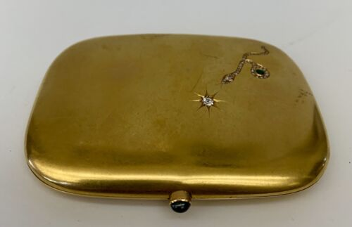 An Important Circa 1900 18K Yellow Gold Sapphire Emerald Box