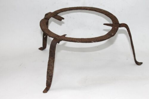 Antique Bulgarian Handforged Fireplace Iron Trivet Pot Stand 18 Century