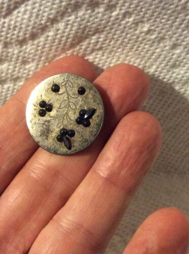 ANTIQUE SEWING-ENGRAVED FLORAL CUT STEEL BUTTON-RAISED BLUE TOP