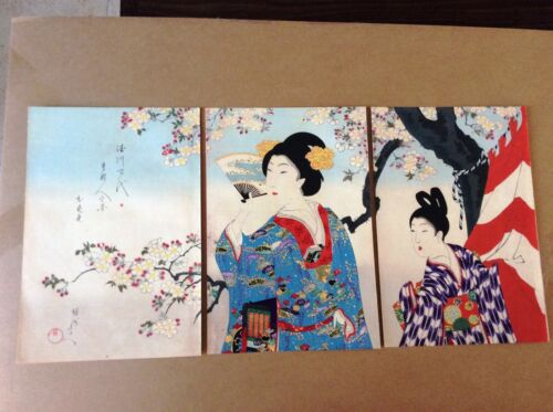 CHIKANOBU , Original Japanese Woodblock Print , Triptych , Court Ladies