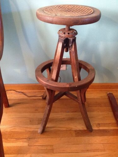 Rare 1800's Antique American Victorian Edwardian Mahogany Table Barstool Swivel