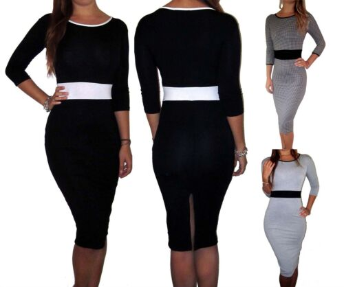 Womens Ladies Black Office Work Smart Midi Dress Formal Size UK 8 10 12 14 16 18 <br/> Pencil Stretch Dresses Long Bodycon 3/4 Sleeve Casual