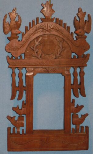 ANTIQUE HAND CARVED 1-PIECE PICTURE PORTRAIT FRAME ORIENTAL DESIGN CA 1893