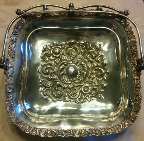 Late 19th C Antique Quadruple Silver Plated Southington Co Handled Basket Tray
