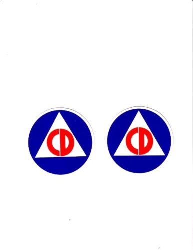 CIVIL DEFENSE STICKER S DECAL COLD WAR 2 TWO 4 INCH Decals StickersReproductions - 156443