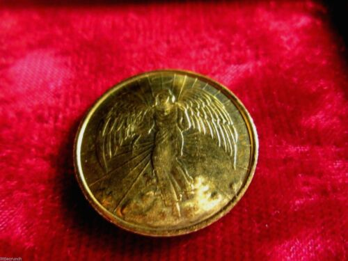VINTAGE RELIGIOUS  GOLD ANGEL COIN  DOUBLE SIDED METAL VERY NICE Christmas Needs