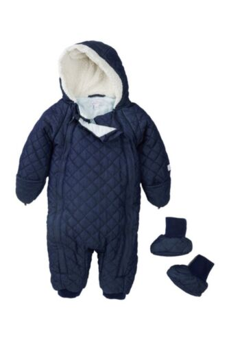 Quiltex QNB133 Baby Boy Quilted Faux Shearling Lined Navy Snowsuit & Booties $78