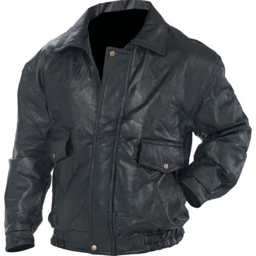 New Mens Black Genuine Leather BOMBER JACKET Flight Coat Motorcycle Biker Lined