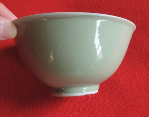 Antique Chinese Monochrome Celadon Porcelain Footed Bowl 19th c. Two Tone