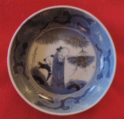 Antique Japanese Porcelain Bowl Blue and White Figure in Landscape 19th century