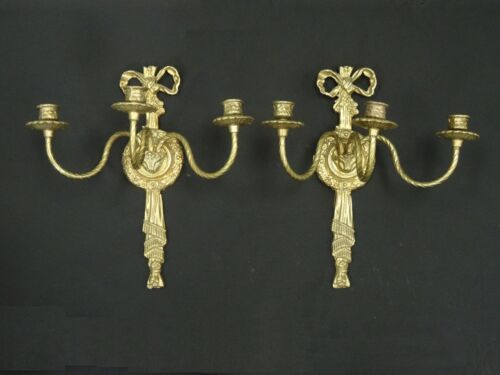 PAIR of GRACEFUL VINTAGE 50's BRASS REGENCY LOUIS XVI STYLE SCONCE w/ THREE ARMS