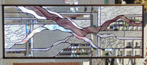 """Stained Glass Window Abstract Hanging 12 1/2 X 32"""""""