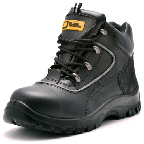 Mens Leather Safety Boots Steel Toe Cap Work Shoes Ankle Size Protection 5-13 S3 <br/> Black Hammer | In Stock & Ready To Dispatch *RRP £59.99