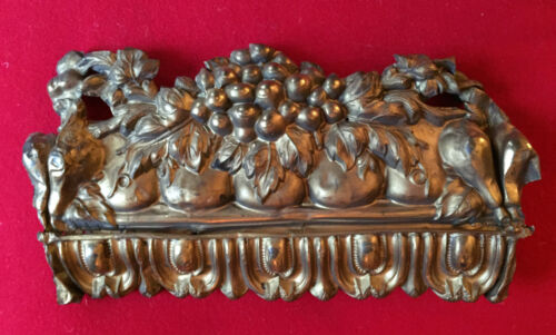 Antique 19th century Victorian Stamped Gilt Brass Drapery Valence Grapes Fruit