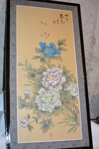 Vintage Silk Screen Hand Painted Asian Large FLORAL PICTURE FRAME Panel ART