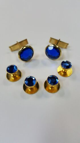 NEW Mens Gold Blue Faux Crystal Cuff Links & Shirt Studs Formal Tuxedo Set Tux